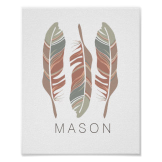 Rustic Feathers Personalized Boy Wall Art Print