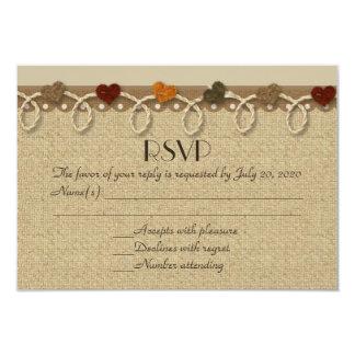 Rustic felt heart burlap wedding RSVP cards