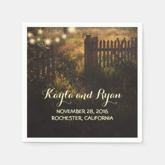rustic fence and string lights country wedding napkin