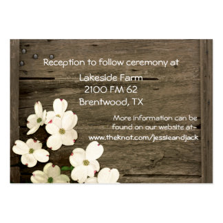 Rustic Fence & Dogwood Blooms Wedding Enclosure Large Business Card