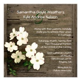 Rustic Fence & Dogwood Blooms Wedding Invitation