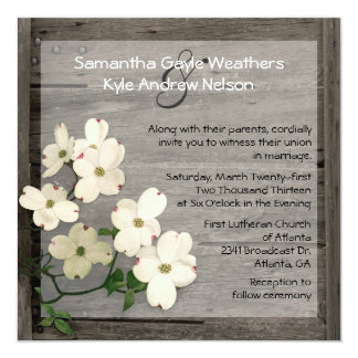 Rustic Fence & Dogwood Blooms Wedding Invitation