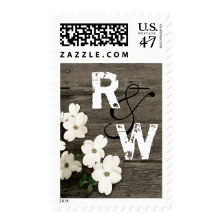 Rustic Fence & Dogwood Blooms Wedding Monogram Postage
