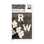 Rustic Fence & Dogwood Blooms Wedding Monogram Postage