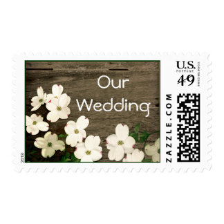 Rustic Fence & Dogwood Blooms Wedding Stamps