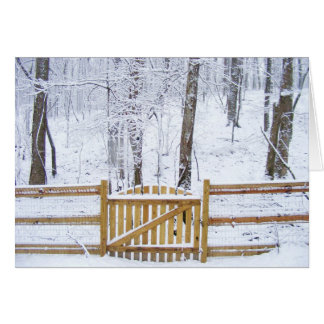 Rustic Fence in the Snow Card