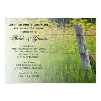 Rustic Fence Post Country Couples Wedding Shower Card