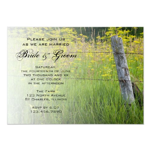 Rustic Fence Post Country Wedding Card