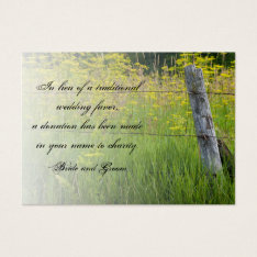 Rustic Fence Post Country Wedding Charity Favor Business Card at Zazzle