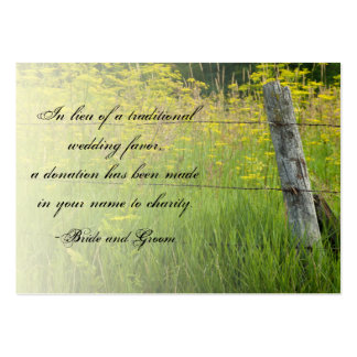 Rustic Fence Post Country Wedding Charity Favor Large Business Card
