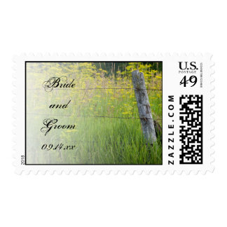 Rustic Fence Post Country Wedding Postage Stamp