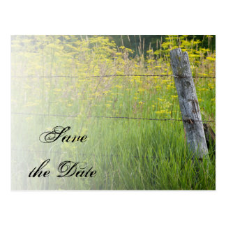 Rustic Fence Post Country Wedding Save the Date Post Card