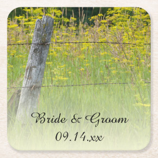 Rustic Fence Post Country Wedding Square Paper Coaster