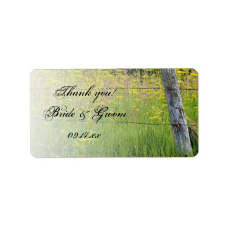 Rustic Fence Post Country Wedding Thank You Label