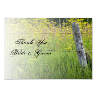 Rustic Fence Post Country Wedding Thank You Note Card