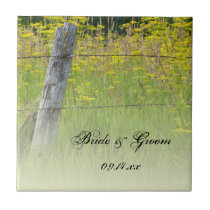 Rustic Fence Post Country Wedding Tile