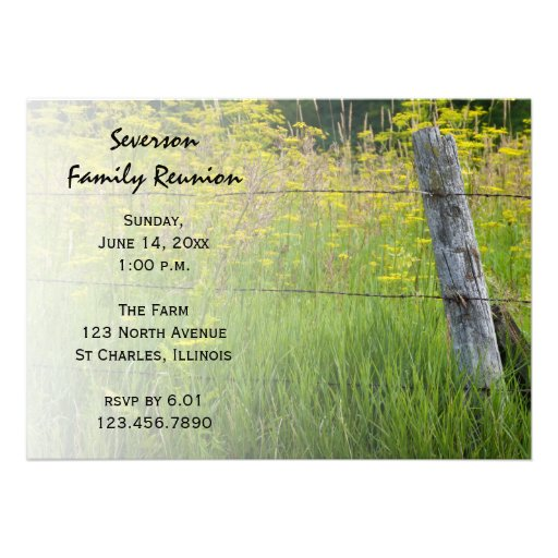 Rustic Fence Post Family Reunion Invitation