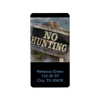 Rustic Fence Post No Hunting Sign Address Label