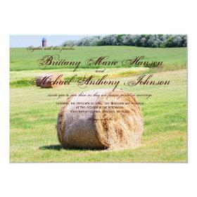 Rustic Field Hay Bales Country Wedding Invitations 4.5