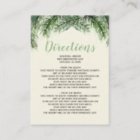 Rustic Fir Branches Winter Wedding Details Enclosure Card