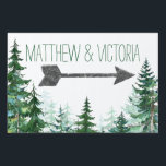 """Rustic Fir Tree Wedding Sign<br><div class=""""desc"""">Fir tree wedding sign with watercolor trees and arrow on a choose your own color background. You can customize this rustic tree wedding sign by adding your details in the font style and color of your choice.</div>"""