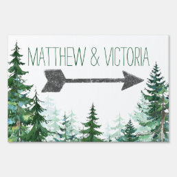 Rustic Fir Tree Wedding Sign
