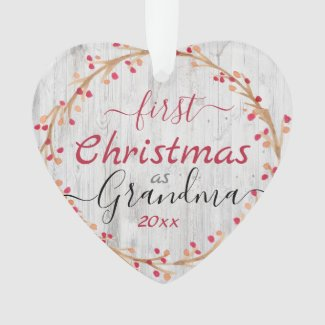 Rustic First Christmas as Grandma One Photo Ornament