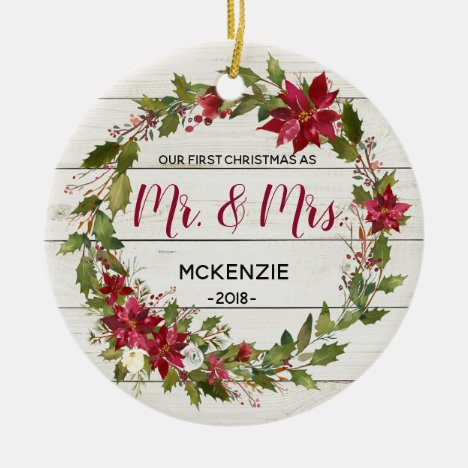 Rustic First Christmas as Mr & Mrs Ornament