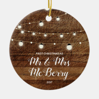 Rustic First Christmas as Mr & Mrs Ornament Gift