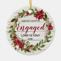 Rustic First Christmas Engaged Ornament