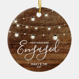 Rustic First Christmas Engaged Ornament Gift