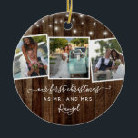 "Rustic First Christmas Mr Mrs Photo Collage Lights Ceramic Ornament<br><div class=""desc"">Rustic Christmas photo collage ceramic ornaments for newlyweds featuring the words ""our first christmas as mr and mrs"", on faux wood texture, illustration of fairy/string lights and photo collage with three pictures; while the back features three images and text template with year. Easily customize with your favorite photos, colors and...</div>"