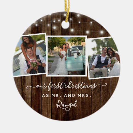 Rustic First Christmas Mr Mrs Photo Collage Lights Ceramic Ornament