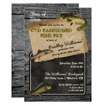 Rustic Fish Fry Graduation Backyard Cookout Party Card