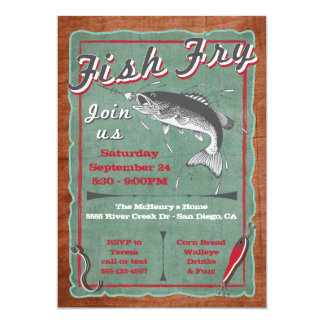 Rustic Fish Fry Party Poster Invitation