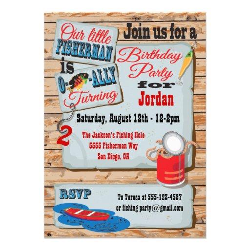 "Rustic Fishing Birthday Party Invitations 5"" X 7"" Invitation Card   Zazzle"