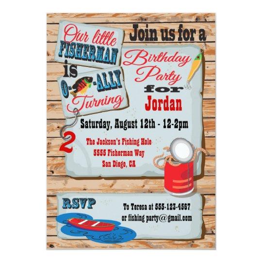 Rustic Fishing Birthday Party Invitations