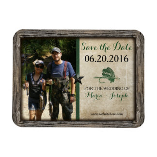 Rustic Fishing Lure Save the Date Photo Magnet