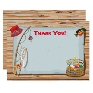 Rustic Fishing Thank You Note Card