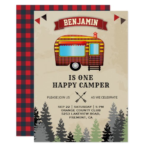Rustic Flannel One Happy Camper 1st Birthday Party Invitation
