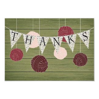 Rustic flat thank you note - yarn theme card