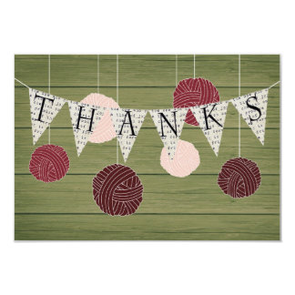 Rustic flat thank you note - yarn theme 3.5x5 paper invitation card