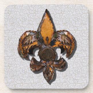 Rustic Fleur De Lis Crackle Background Coaster