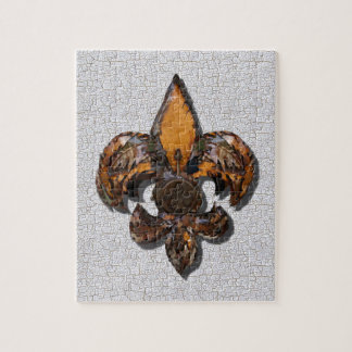 Rustic Fleur De Lis Crackle Background Jigsaw Puzzles