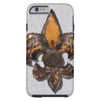 Rustic Fleur De Lis Crackle Background Tough iPhone 6 Case