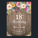 """Rustic Floral 18th Birthday Invitation for Women<br><div class=""""desc"""">Rustic Floral 18th Birthday Invitation for Women. Watercolor Floral Flower, Rustic Wood Background. Vintage Retro. Adult Birthday. Women Girl Lady Teen Teenage Bday Bash Invite. 13th 15th 16th 18th 20th 21st 30th 40th 50th 60th 70th 80th 90th 100th. Any Age. For further customization, please click the """"Customize it"""" button and...</div>"""