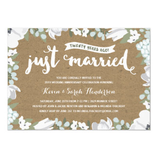 Rustic Floral | 20th Wedding Anniversary Card