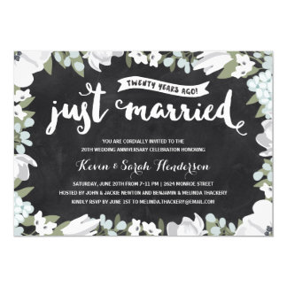 Rustic Floral | 20th Wedding Anniversary Party Invitation