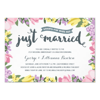 Rustic Floral | 75th Wedding Anniversary Card