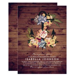Rustic Floral Anchor | Elegant Bridal Shower Card